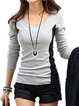 Gray Round Neck Long Sleeve T Shirt