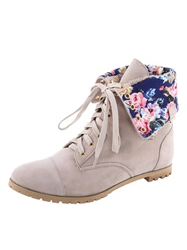 Floral Suede Lace Up Booties