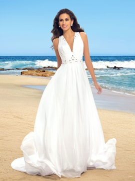 Ruched Beaded V Neck Sheer Back Chiffon Beach Wedding Dress