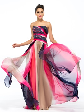 A Line Strapless Appliques Printing Long Prom Dress