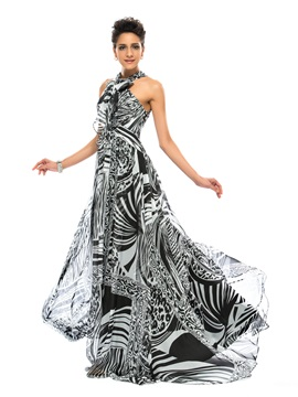 Great A Line Bowknot Halter Printing Long Evening Dress