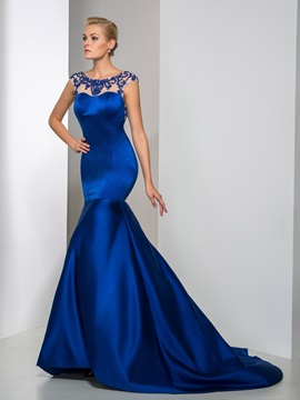 Luxurious Backless Scoop Neckline Beaded Long Mermaid Evening Dress