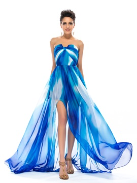 Great A Line Strapless Split Front Pleats Long Prom Dress
