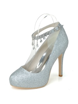 Simple Sequins Cz Diamond Stiletto Heel Wedding Shoes