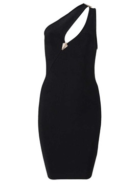 Sensual Black Sheath One Shoulder Little Party Dress
