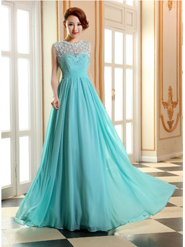 Jewel Neck Lace Beading A Line Long Prom Dress