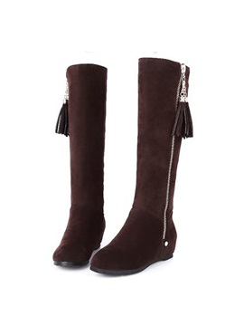 Tassel Zipper Wedge Heel Knee High Boots