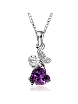 Purple Heart Shaped Pendent Necklace