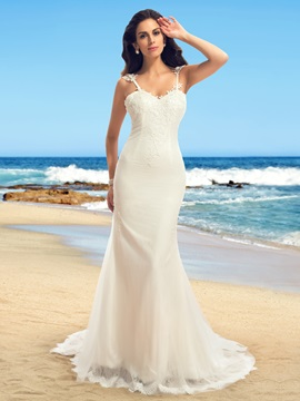Dazzling Spaghetti Straps Appliques Backless Wedding Dress
