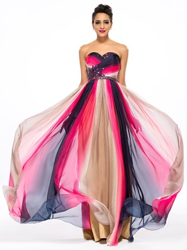 Contrast Color A Line Sweetheart Beading Floor Length Prom Dress