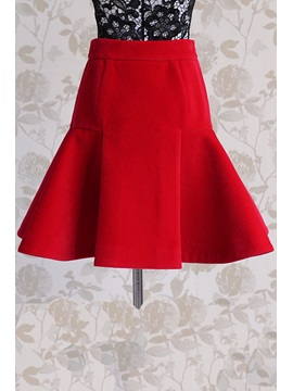 Solid Color Back Zip Pleated Skirt