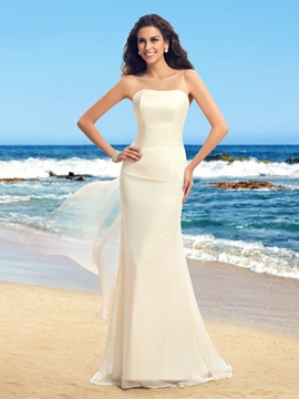 Simple Style Strapless Floor Length Sheer Back Watteau Train Wedding Dress