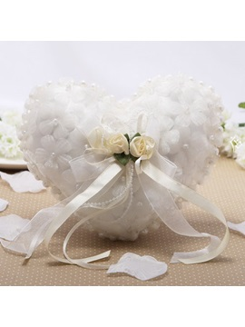 Delightful Heart Shaped Flower Pearl Ring Pillow