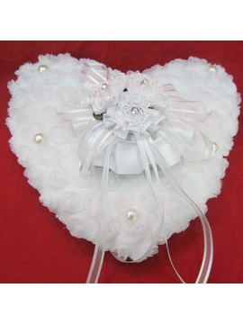 Heart Shaped Ring Pillow With Ribbons Pears Flowers