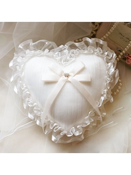 Heart Shaped Ribbons Laced Ring Pillow