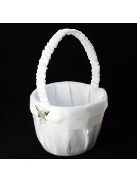 Flower Basket In Satin With Butterfly Rhinestones Sash