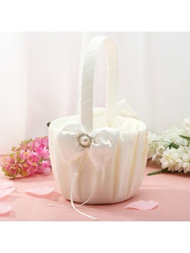 Classic Flower Basket In Satin With Ribbon Faux Pearl