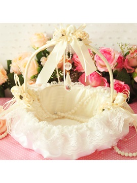 Flower Basket In Satin Lace With Bow