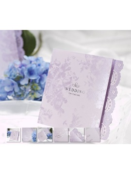 Floral Style Z Fold White Invitation Cards 20 Pieces One Set