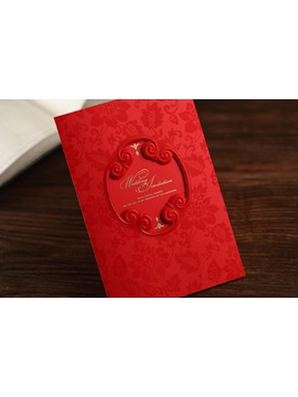 Red Floral Style Side Fold Invitation Cards 20 Pieces One Set