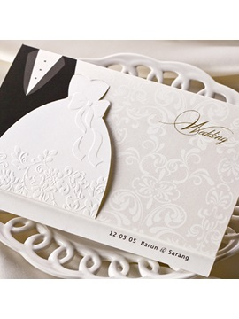 Bride Groom Style Side Fold Wedding Invitation Cards 20 Pieces One Set
