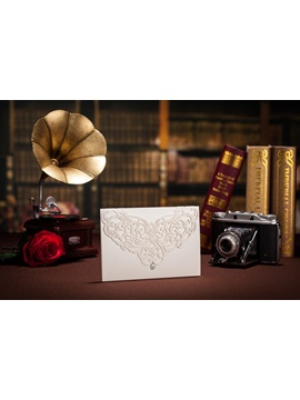 White Floral Style Side Fold Invitation Cards 20 Pieces One Set