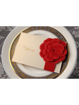 Floral Style Wrap Pocket Side Fold Invitation Cards 20 Pieces One Set