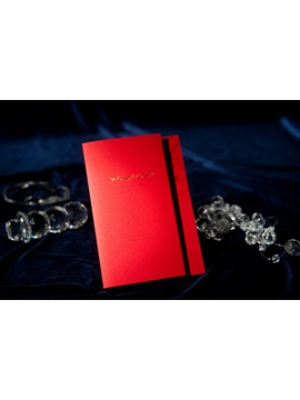 Modern Style Tri Fold Red Wedding Invitation Cards 20 Pieces One Set