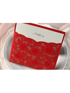 Floral Style Wrap Pocket Invitation Cards 20 Pieces One Set
