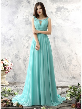 Wonderful Square Pearls Flowers Sweep Train Long Prom Dress