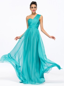 Classic A Line One Shoulder Pleats Long Prom Dress