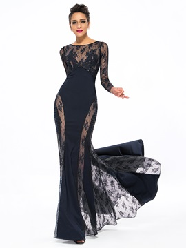 Sensual Bateau Neckline Trumpet Lace Appliques Sweep Train Long Evening Dress