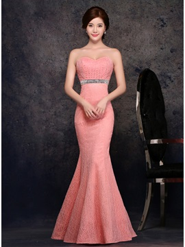 Dazzling Strapless Trumpet Lace Beading Zipper Up Long Evening Dress
