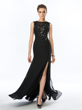 Classy Bateau Neckline Beading Appliques Split Front Floor Length Evening Dress
