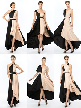 Simple Style Straps Ruffles A Line Asymmetrical Evening Dress