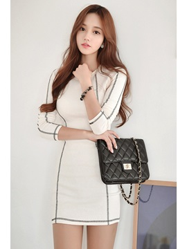 White Long Sleeve Sheath Dress