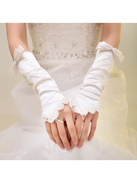 Elegant Bowknot Scalloped Lace Trim Ivory Fingerless Long Wedding Gloves