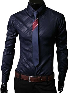 Lapel Striped Long Sleeve Mens Dress Shirt