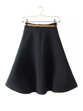 Solid Color Double Pockets Flared Skirt