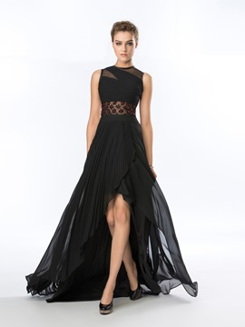 Classy Jewel Neckline Beading A Line Sweep Train Asymmetrical Evening Dress