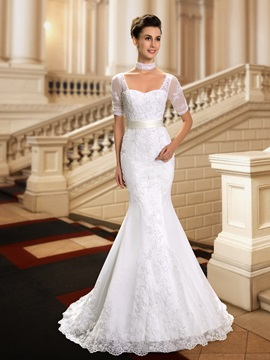 Sweetheart Beaded Lace Appliques Short Sleeve Mermaid Wedding Dress