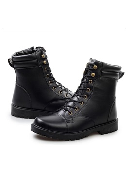 Round Toe Lace Up Martin Boots