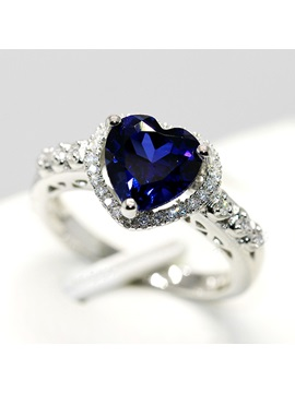 Luxury Heart Shaped Blue Sapphire Women Engagement Wedding Silver Ring