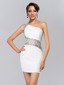 Modern Sheath Beading One Shoulder Short Length Cocktail Dress