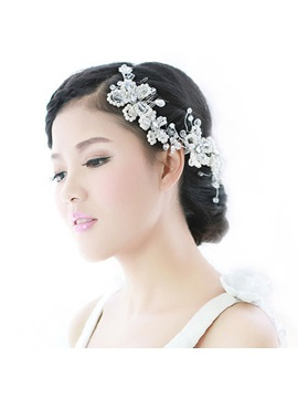 Crystal Flower With Pearl Bridal Hair Comb