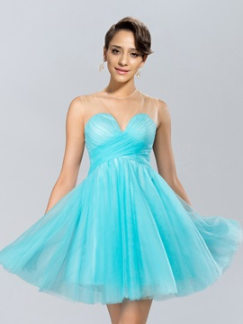 Cute A Line Tulle Neckline Bowknot Lace Short Cocktail Dress