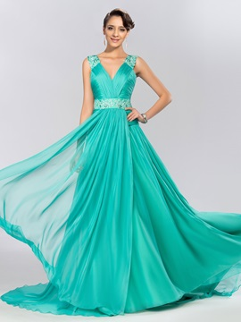 Elegant V Neck Appliques Beading A Line Sweep Train Long Evening Dress