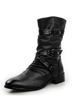 Black Cross Strap Buckled Boots