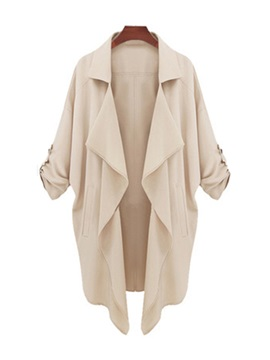 Solid Color Asymmetric Hem Long Sleeve Trench Coat