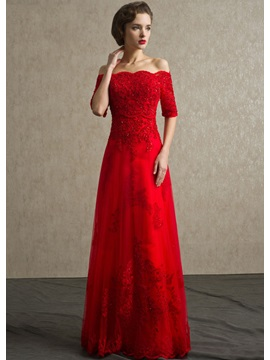 A Line Off The Shoulder Appliques Sequins Long Evening Dress
